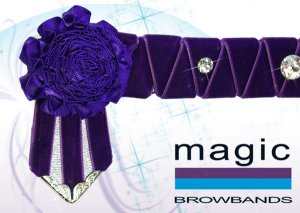 Purple sharkstooth and carnations with large swarovski crystals
