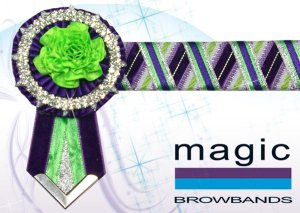 Purple, lime green and silver with small carnations