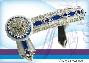 White and royal blue diamond chain with large crystal rosettes