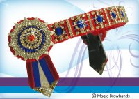 Red and royal blue circle superbling, Cob