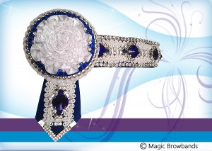 White braid and royal blue with silver crystal and carnations