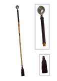 Bamboo cane with dark brown handle and flapper