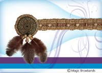 New Indian Browband - Feather and Beads
