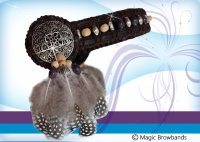 New Indian Browband - dark brown, turquoise beads and feathers