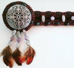 Dreamcatcher Browband - Feathers, metal and beads