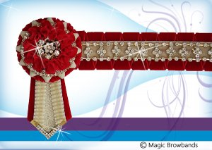 New Red nested Carnation, Cream with Gold crystal chain