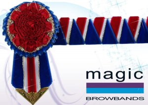 Royal blue, red, white and gold sharkstooth with carnation centr