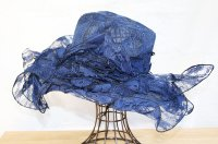 Navy Lace Organza Hat