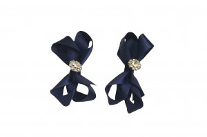 Navy ribbon with diamantes pair