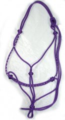 Bling rope halter - purple with clear diamantes, pony size