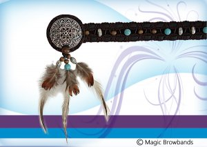 New Indian Browband - Feathers and Turquoise Beads