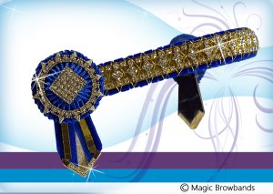 Royal blue diamond cross chain with gold mirrors