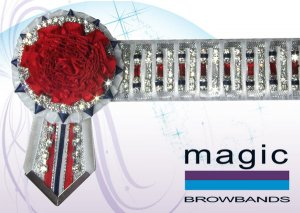 White, silver, royal blue and red threaded red baguette chain