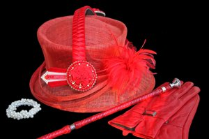 Red Sinamay Hat 2