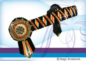 Navy, white and orange patterened band