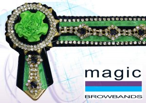 Navy, lime with diamond chain and small carnations