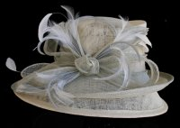 Ivory/Silver Sinamay Hat