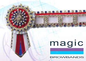 White, red and royal blue large square crystal chain