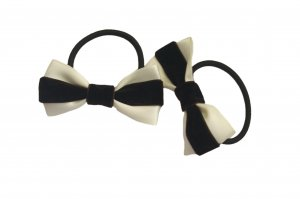Chocolate brown on cream bow pair with elastic band