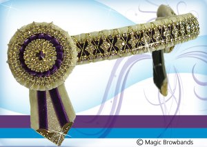 Cream and purple diamond cross chain