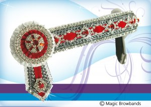 White, silver and red diamond feature chain (with grey braid)