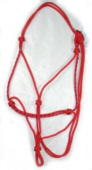 Bling rope halter - red with royal blue diamantes, full size