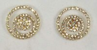 crystal 3 cirlces centre, gold set, 30mm, set of 2