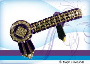 Purple velvet diamond cross chain
