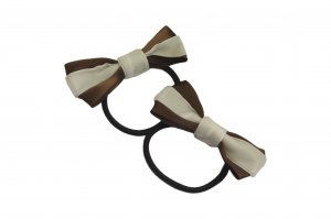 Cream and chocolate brown bow pair with elastic band