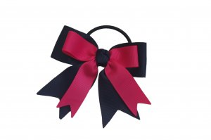 Pink on navy blue ribbon single with elastic band