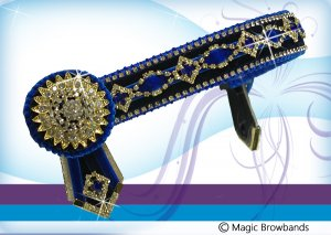 Royal blue, navy & gold diamond feature chain w sunshine rossett