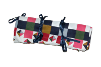 Roll up browbands storage bag, pink, blue and green squares