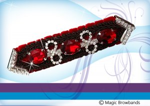 "New ""Cherry Ripe"" Red w/ brown braid & red & silver crystal"