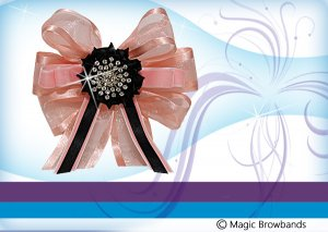 Peach and Black Hat pin with crystal centre
