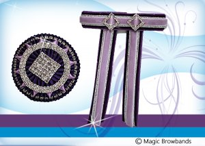 New dark purple, light purple and silver lapel pin with hair bow