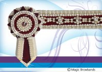 New Cream, burgundy and gold with diamond chain, Large Pony