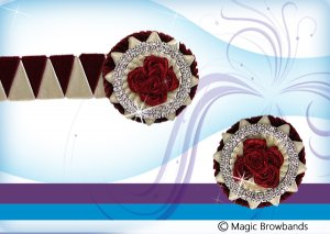 New Burgundy & Cream Sharkstooth w/ Burgundy Roses plus lapel