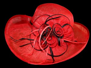 Red/Black Sinamay Hat