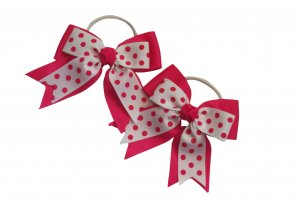 White polka on pink ribbon pair with elastic band