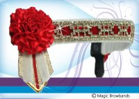 White and red pattern oblong chain with red carnations, WB