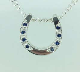 Horse shoe pendant with blue sapphires
