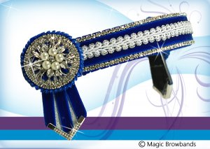Royal blue, white and silver braid with pearl crystal centres