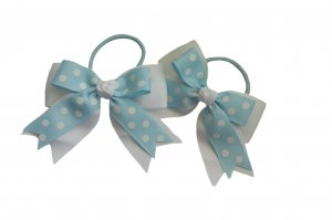 Light blue polka dot on white ribbon pair with elastic band12