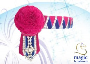 Pink carnations with royal blue, pink and silver sharkstooth