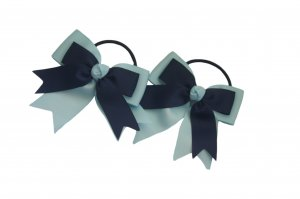 Navy blue on light blue ribbon pair with elastic band