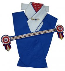 Royal blue, red and white small square checkerbling set