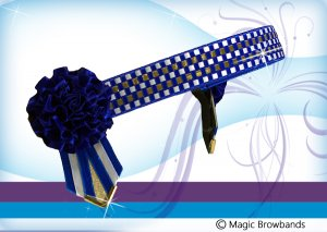 Royal blue, white and gold microcheck with carnations