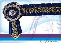 New Royal blue with gold braid and sharkstooth, Large Cob