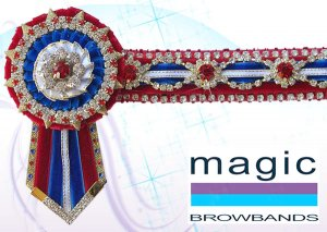Red, royal blue, white and gold flower and oval crystal chain