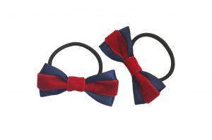 Velvet red and blue ribbon pair with elastic band